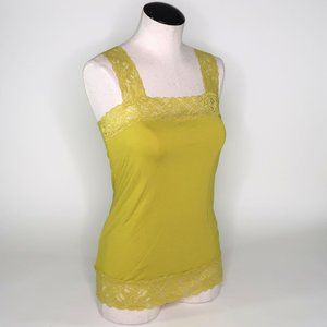 HALOGEN lace trim cami antique moss size small NWT